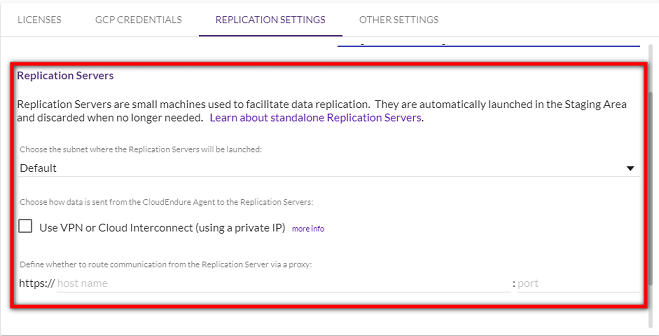 Defining your replication settings, for GCP